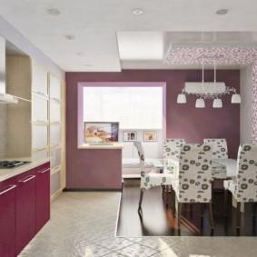 фиолетовые обои в интерьере кухни