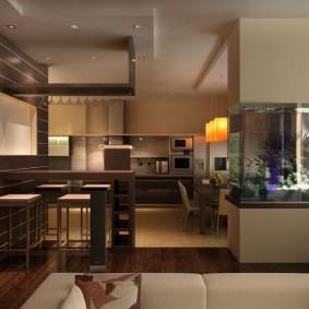 Кухня-гостиная с аквариумом в интерьере