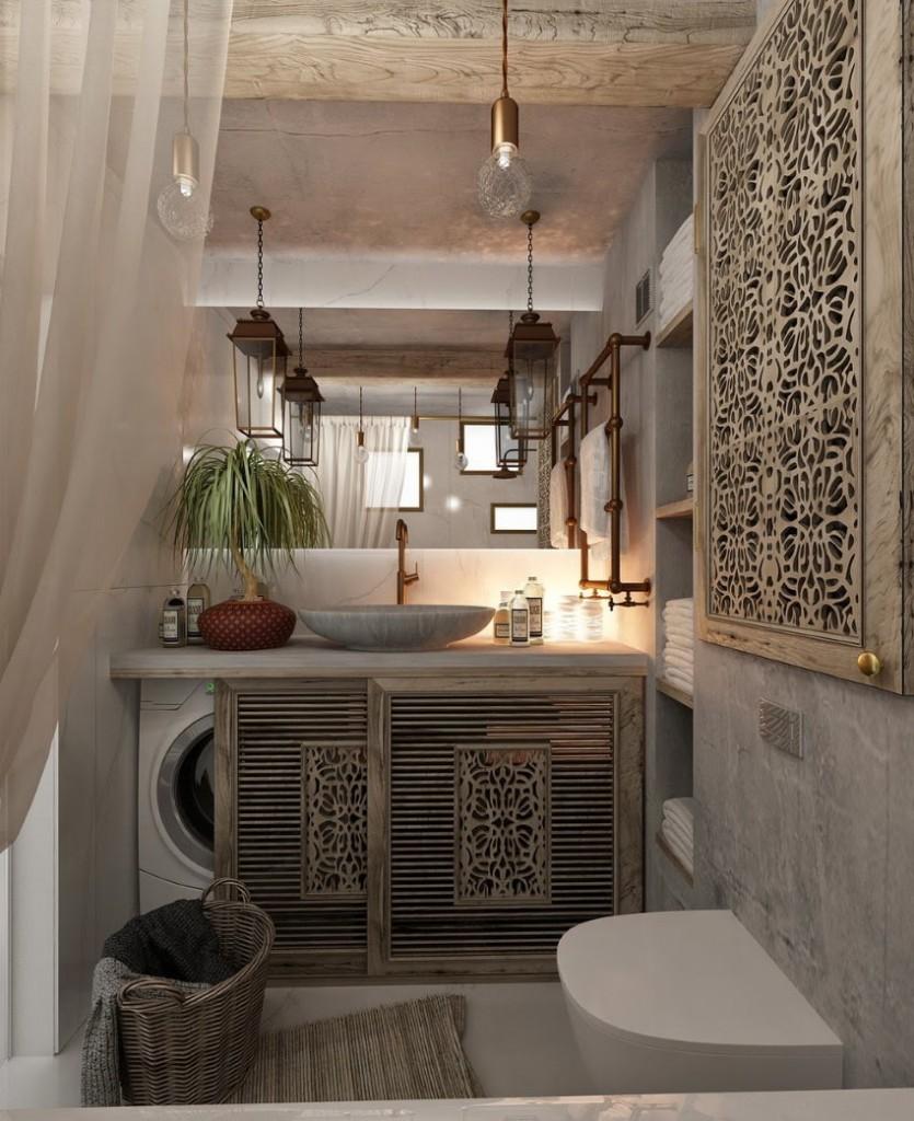 Ажурные панели в интерьере ванной комнаты