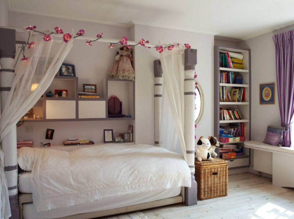 Детская кровать с балдахином из тюля