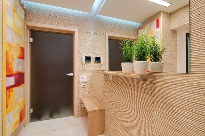 Дизайн коридора с бамбуковыми обоями