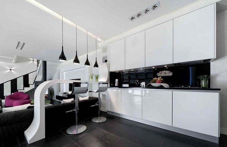 Барная стойка в кухне-гостиной стиля хай-тек