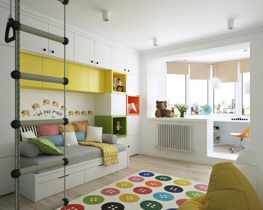 Желтый шкафы в детской стенке белого цвета
