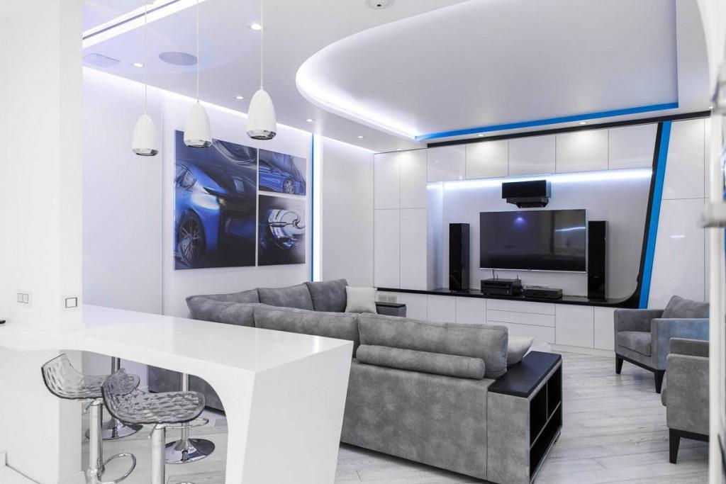 Подсветка потолка квартиры-студии в стиле хай-тек