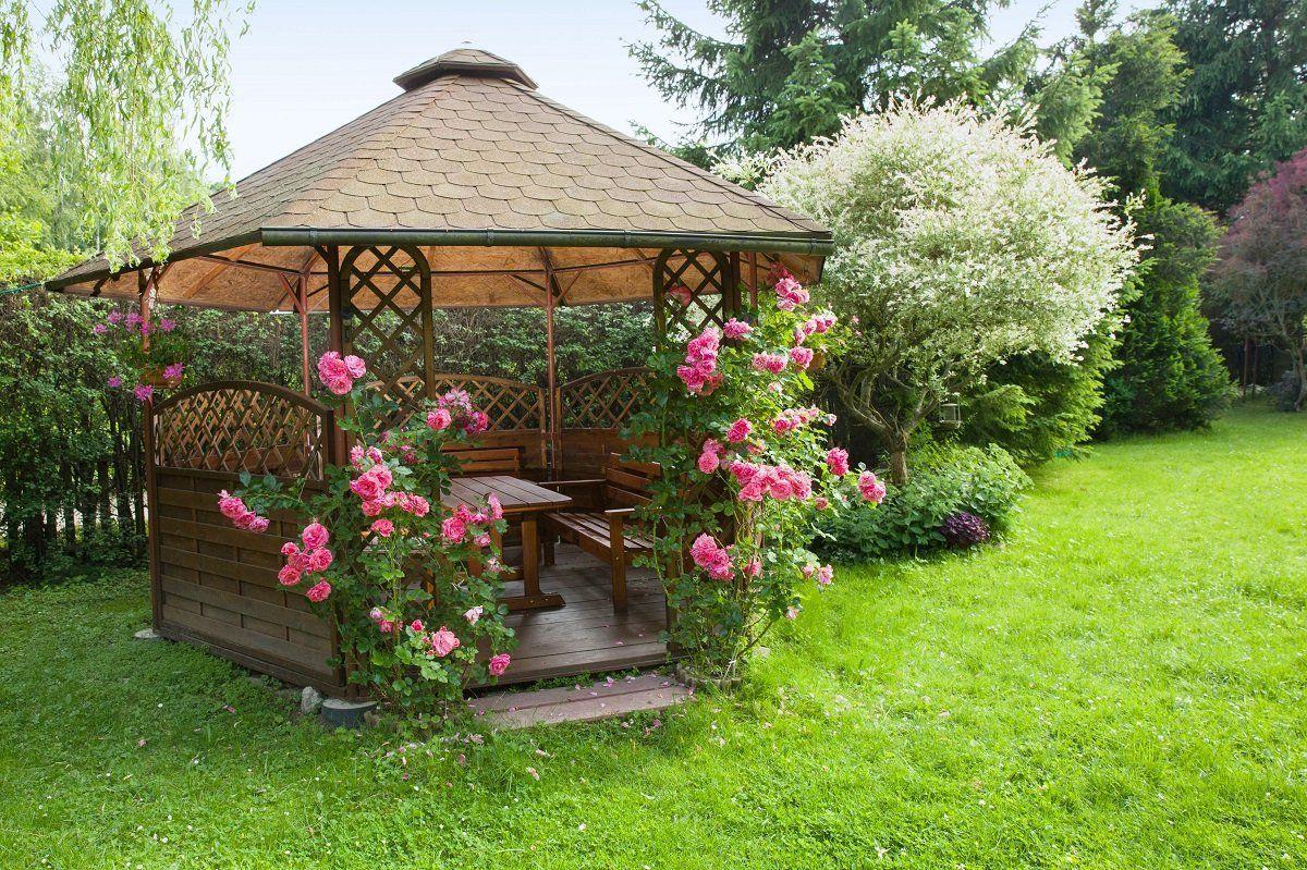 беседка с розами в саду