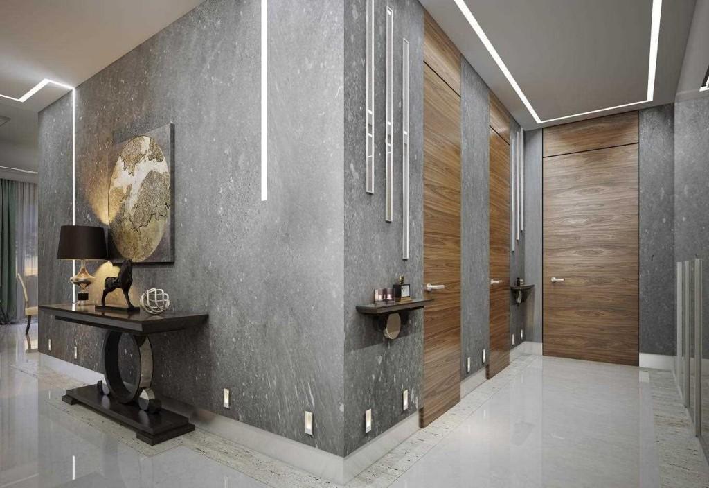 Отделка стен коридора под серый бетон