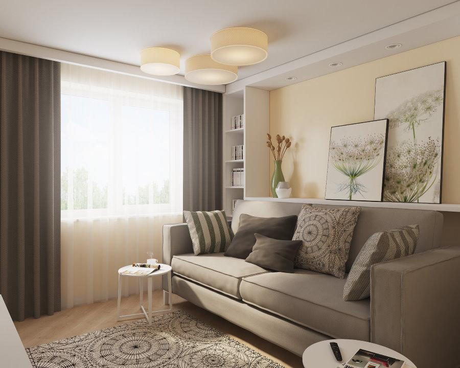 Раскладной диван в кремовой гостиной хрущевки