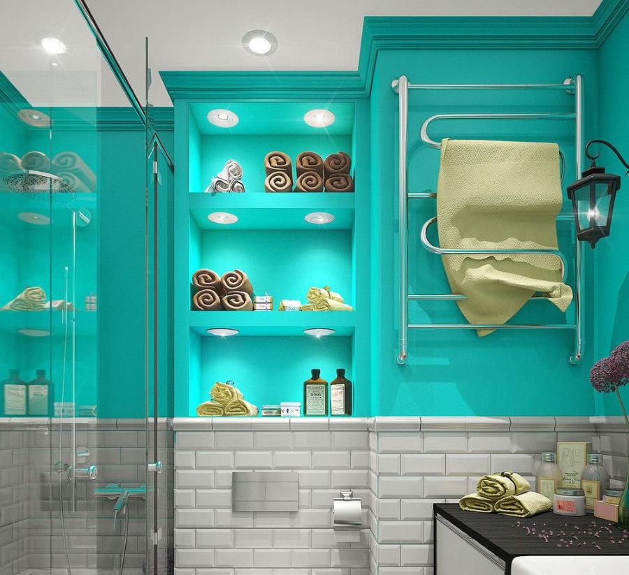 Бирюза в интерьере маленькой ванной комнаты