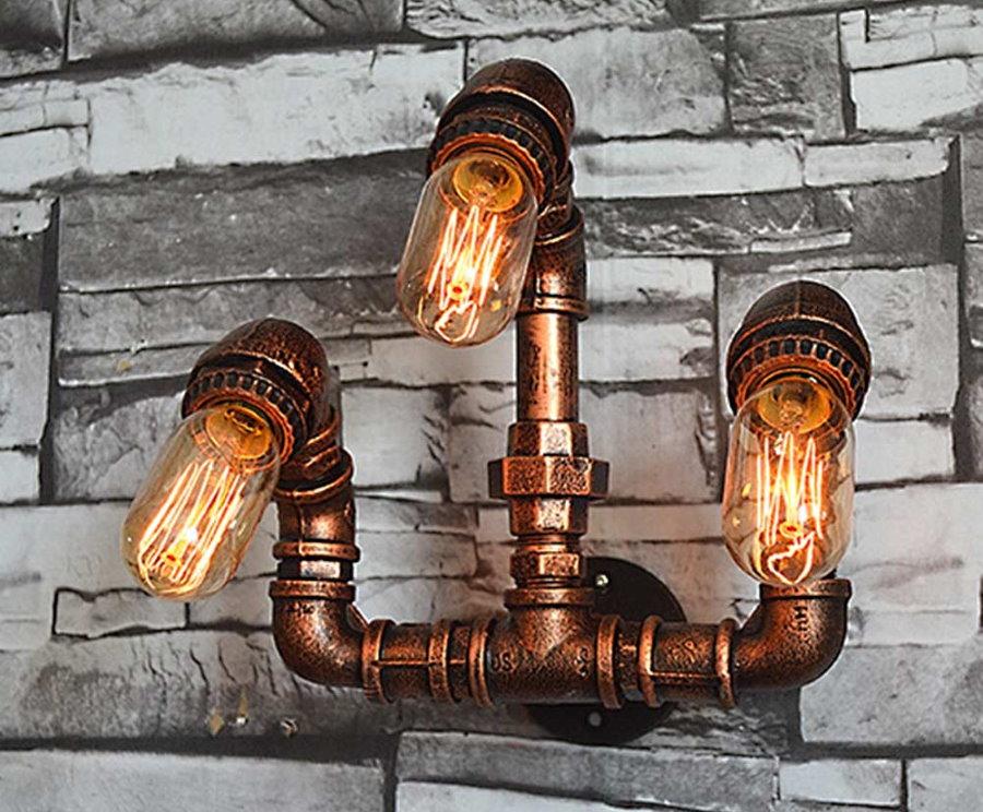 Брутальный светильник из медных труб