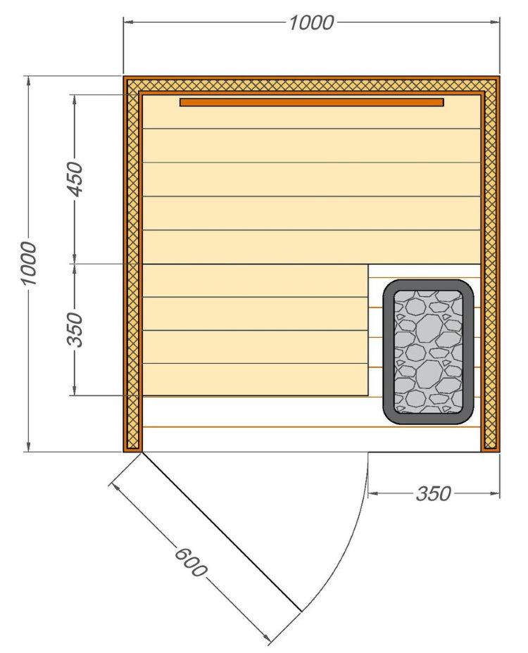 Чертеж сауны для размещения на балконе квартиры