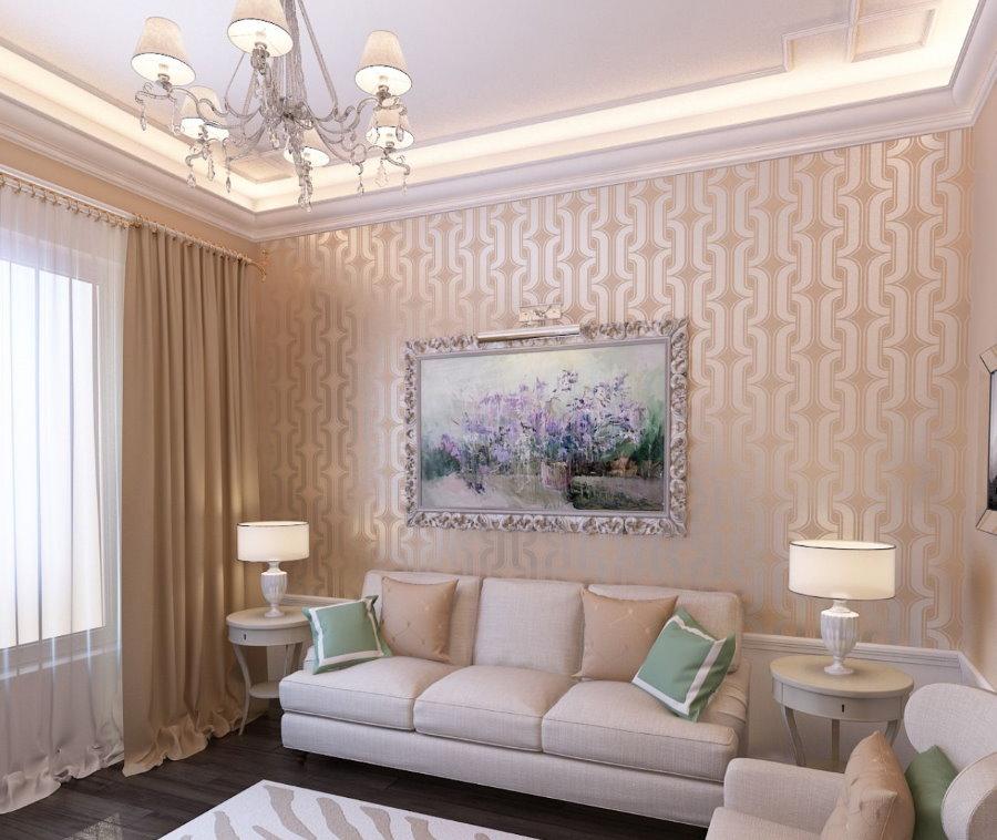Небольшая картина на акцентной стене маленькой гостиной