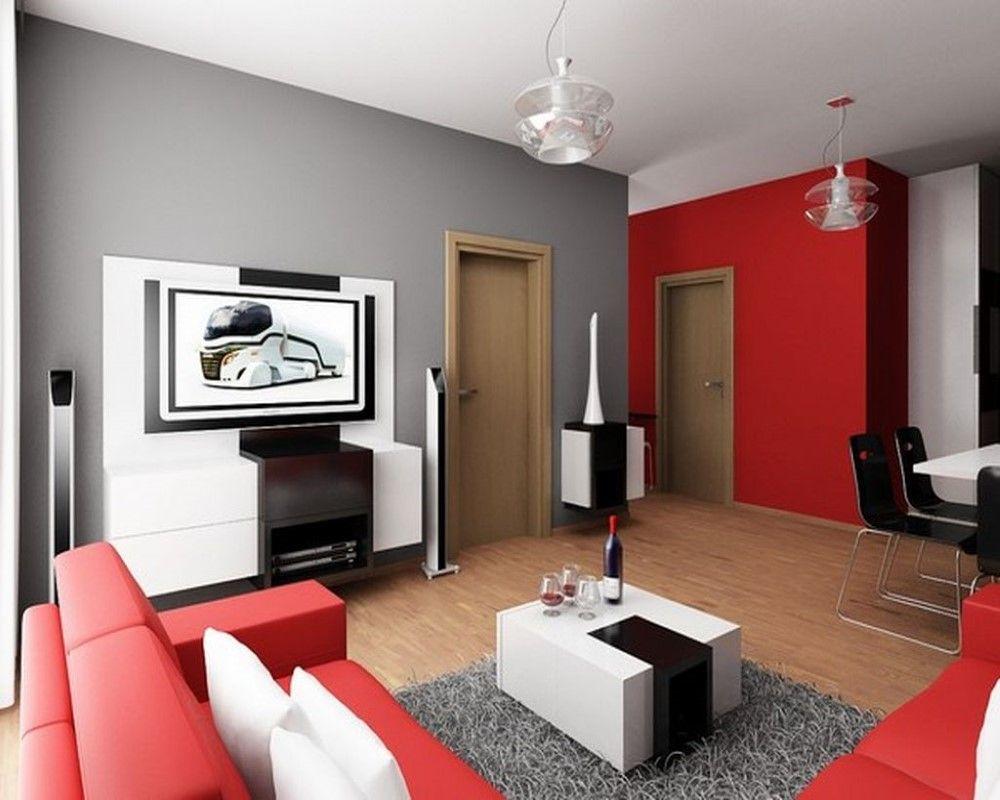 Декор гостиной с контрастными стенами