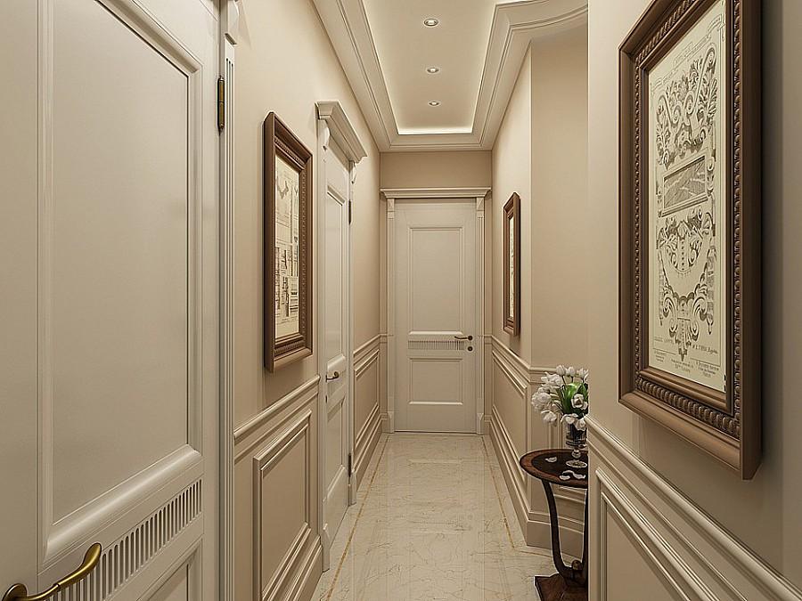 Узкий коридор с картинами на стене