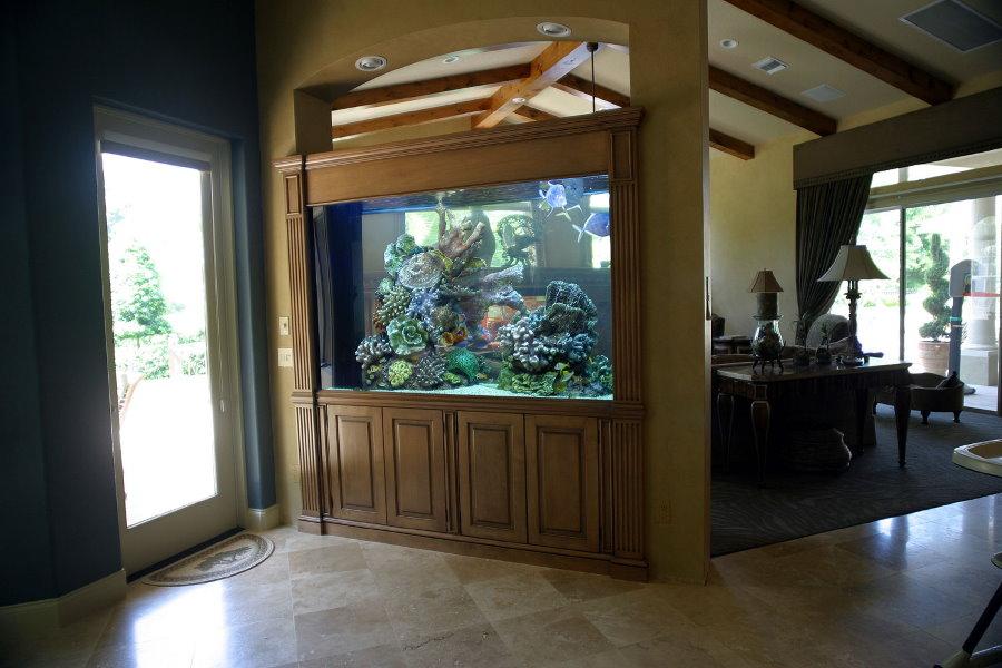 Большой аквариум в деревянной перегородке