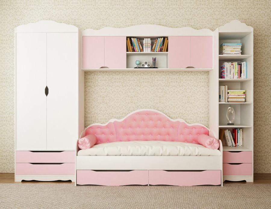 Стенка с кроватью для спальни девочки