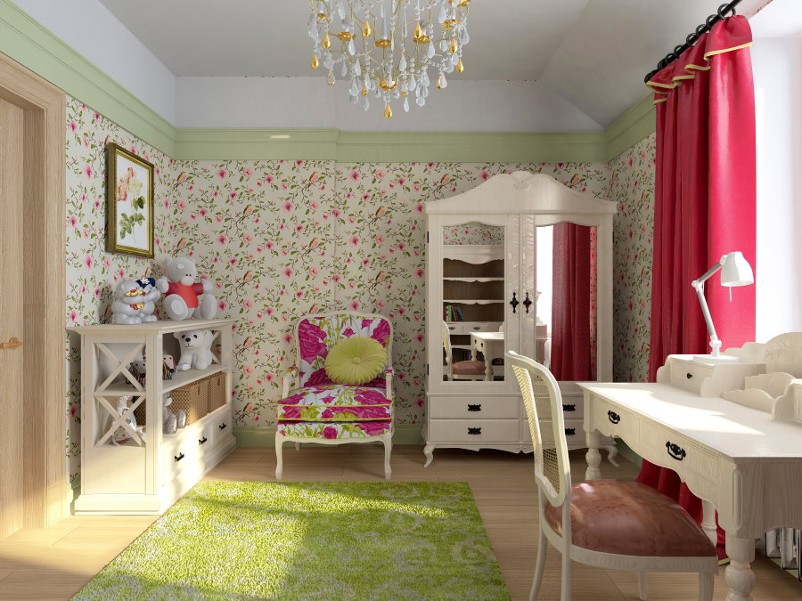 Мелкие цветки на обоях в детской комнате
