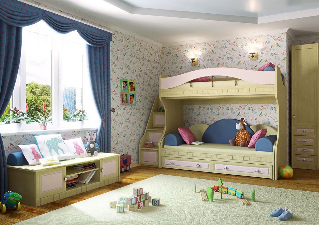 детский гарнитур с двухъярусной кроватью
