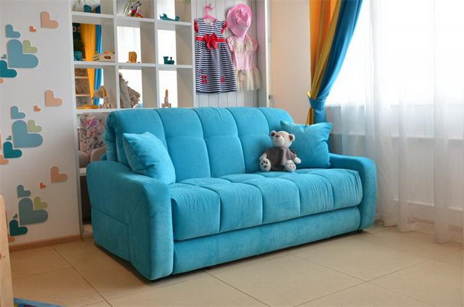 Голубой детский диван раскладного типа