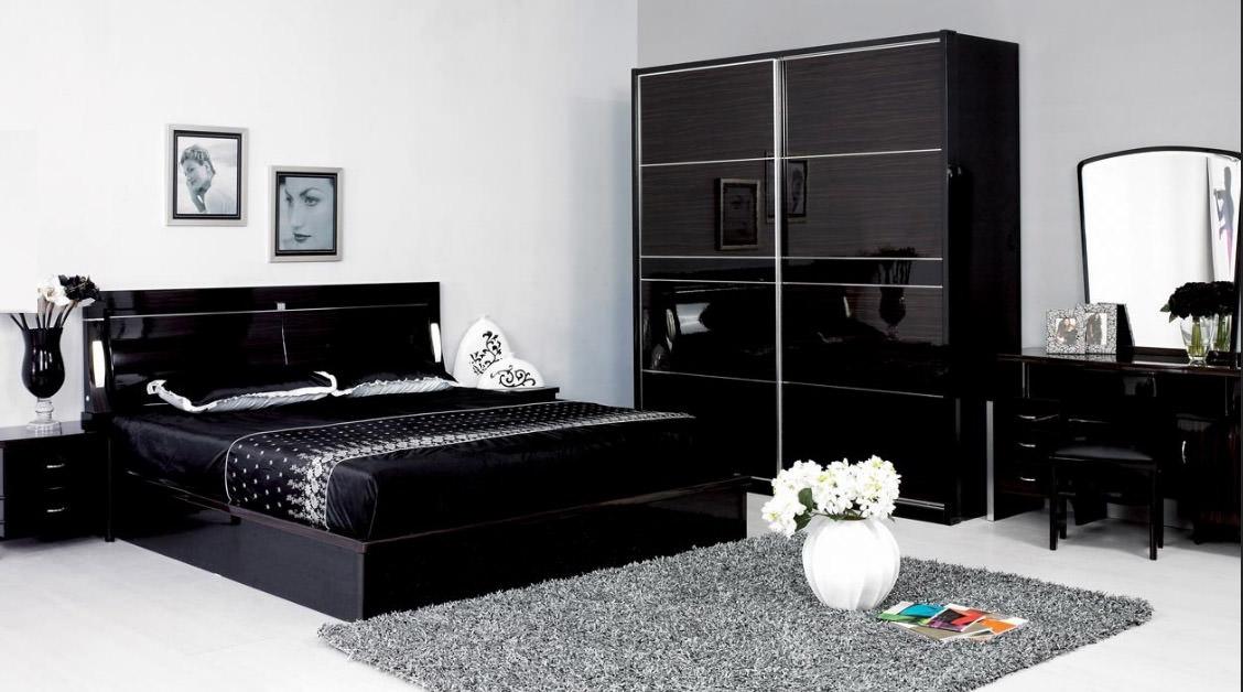 спальный гарнитур черный