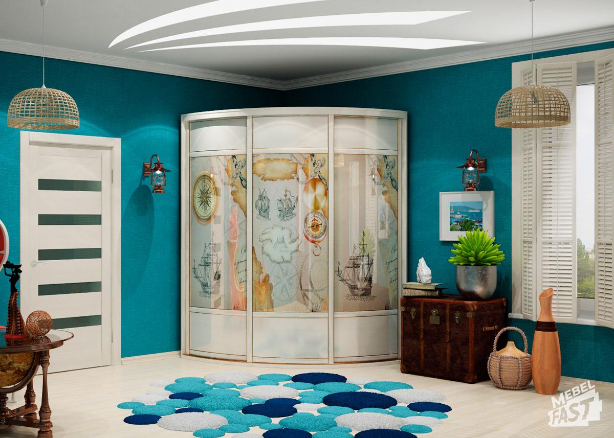 дизайн прихожей комнаты после ремонта в морском стиле