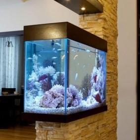 Отделка канем стены с аквариумом