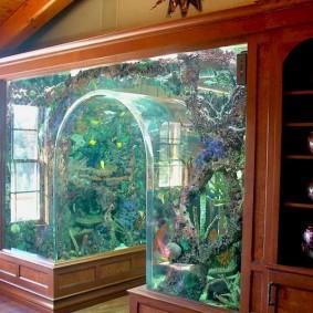 Стеклянный аквариум вместо межкомнатной перегородки