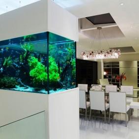 Декорирование аквариумом кухни-гостиной