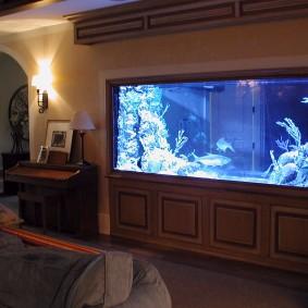 Огромный аквариум в стене жилой комнаты