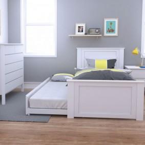 Выдвижная кровать в комнате мальчиков