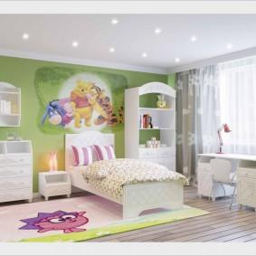 Зеленые обои в комнате ребенка