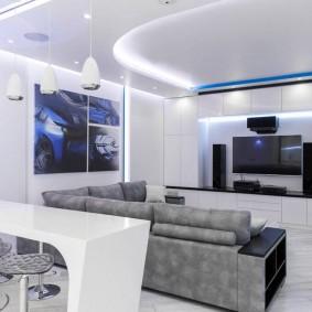 Освещение в белой гостиной стиля хай-тек