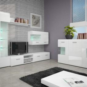 Интерьер гостиной с мебелью светлого оттенка