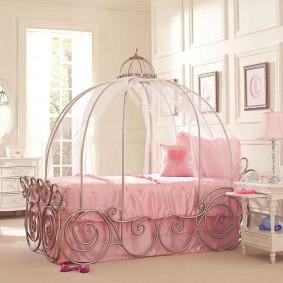 Розовый текстиль в девчачьей комнате