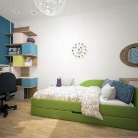 Дизайн детской комнаты с выдвижным диваном