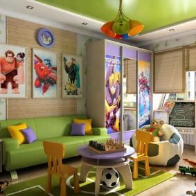 Зеленый диван в детской современного стиля