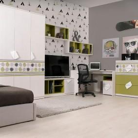 Дизайн подростковой комнаты с модульной мебелью