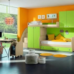 Салатовая мебель модульного типа