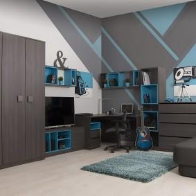 Серая мебель в комнате подростка