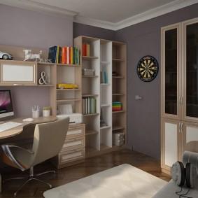 Корпусная мебель в комнате с выступом