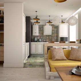 Кухня-гостиная в квартире кирпичного дома