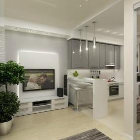 Кухонные шкафчики с фасадами серого цвета