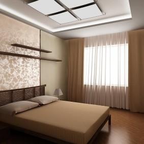 Коричневые шторы в спальной комнате