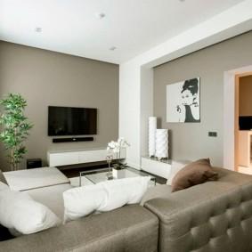 Окраска стен гостиной в тон мебели