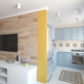 Угловой гарнитур в кухонной зоне гостиной