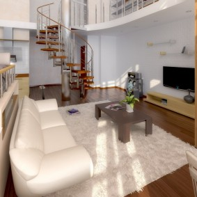 Светлый ковер перед белым диваном