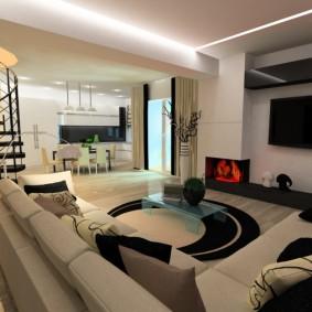 Современное оформление квартиры с двумя этажами
