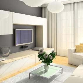 Модульная стенка в гостиной комнате