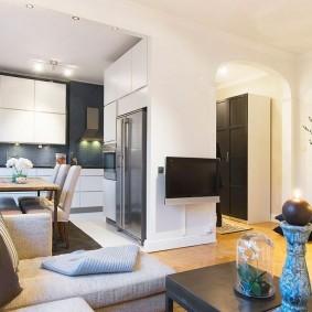 Дизайн кухни-гостиной в двухкомнатной квартире