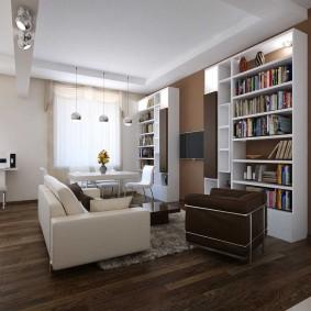 Хранение книг в интерьере гостиной
