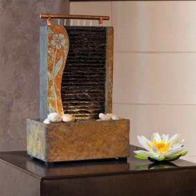 Настольный декоративный фонтан из натурального кварцита